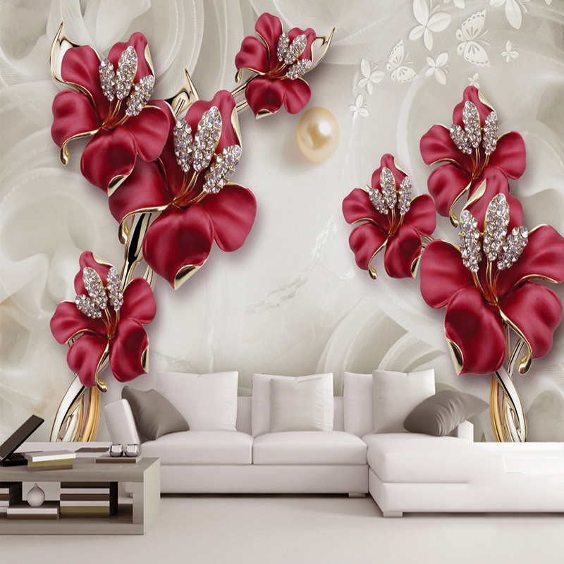 Custom Wall Cloth Relief Flowers Jewelry Photo Wall Murals Wallpapers For 3D Living Room TV Background Home Decor Wall Papers 3D