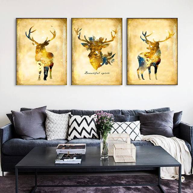 Nordic Vintage Black White Deer Head Animals Beauty Big Art Print ...