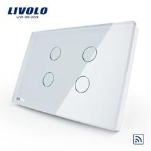 Interruptor inalámbrico remoto táctil de luz de pared de 4 paneles estándar de Estados Unidos Livolo, AC110 ~ 250 V, Panel de cristal, sin control remoto