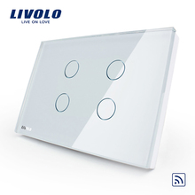 Livolo US standard 4 gang Wall Light Touch Remote Wireless Switch ,AC110~250V,Crystal Glass Panel ,No remote controller
