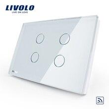 Livolo US standard 4 gang applique murale tactile commutateur sans fil à distance, AC110 ~ 250 V, panneau en verre cristal, pas de télécommande