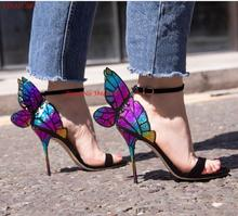 Metallic Embroidered Butterfly Sandals 3D Angel Wings High Heels Women Wedding Shoes Ankle Wrap Party Bridal Summer 2019