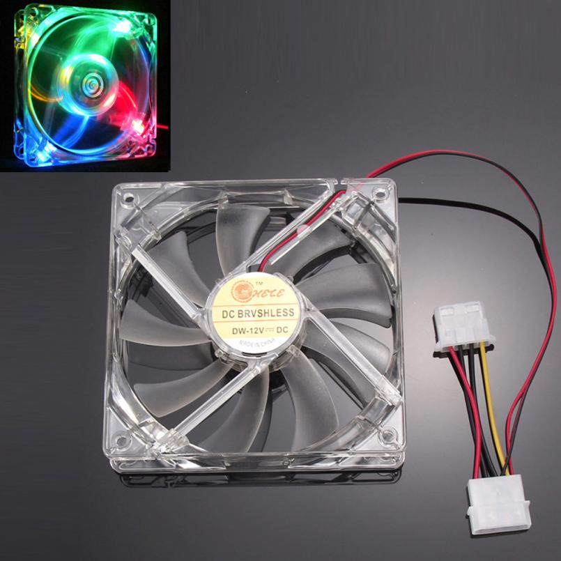 Good Sale Colorful Quad 4-LED Light Neon Clear 120mm PC Computer Case Cooling Fan Mod Free shipping May 31 hot sale binmer 120 x 120 x 25mm 4 pin computer fan red quad 4 led light neon clear 120mm pc computer case cooling fan mod