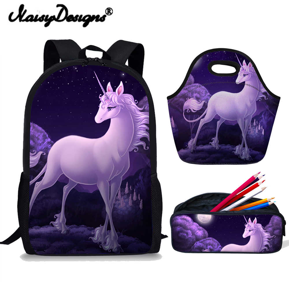 96b4d0e1baee Childrens Backpack Schoolbag Unicorn School Bags 3 Set Girls Kids Fashion  School Backpack Women Schoolbag Back Pack Horse Print