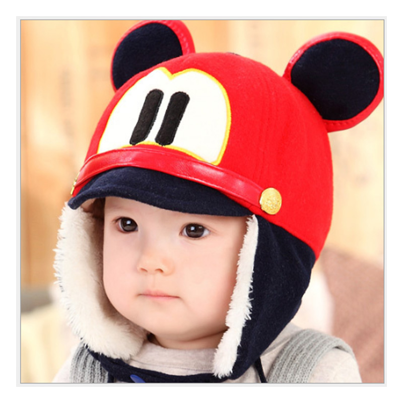 Winter plush ear muff hat Imitation velvet baby hat for Girls Boys Headwear Hats toddler photography cartoon mouse baby caps
