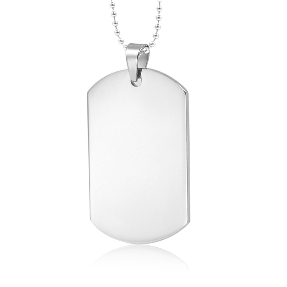 1pc Stainless Steel Silver Tone Military Air Force Plain Dog Tag Pendant Necklace for Bo ...