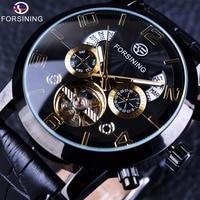 Forsining Tourbillion Black Golden Wave Dial Fashion Casual Design Men Watch Top Brand Mechanical Automatic Wrist