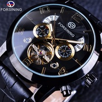 Forsining Tourbillion Black Golden Wave Dial Fashion Casual Design Men Watch Top Brand Mechanical Automatic Wrist