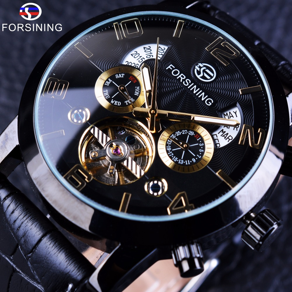 Forsining Tourbillion Black Golden Wave Dial Fashion Casual Design Herenhorloge Topmerk mechanisch automatisch polshorloge voor heren