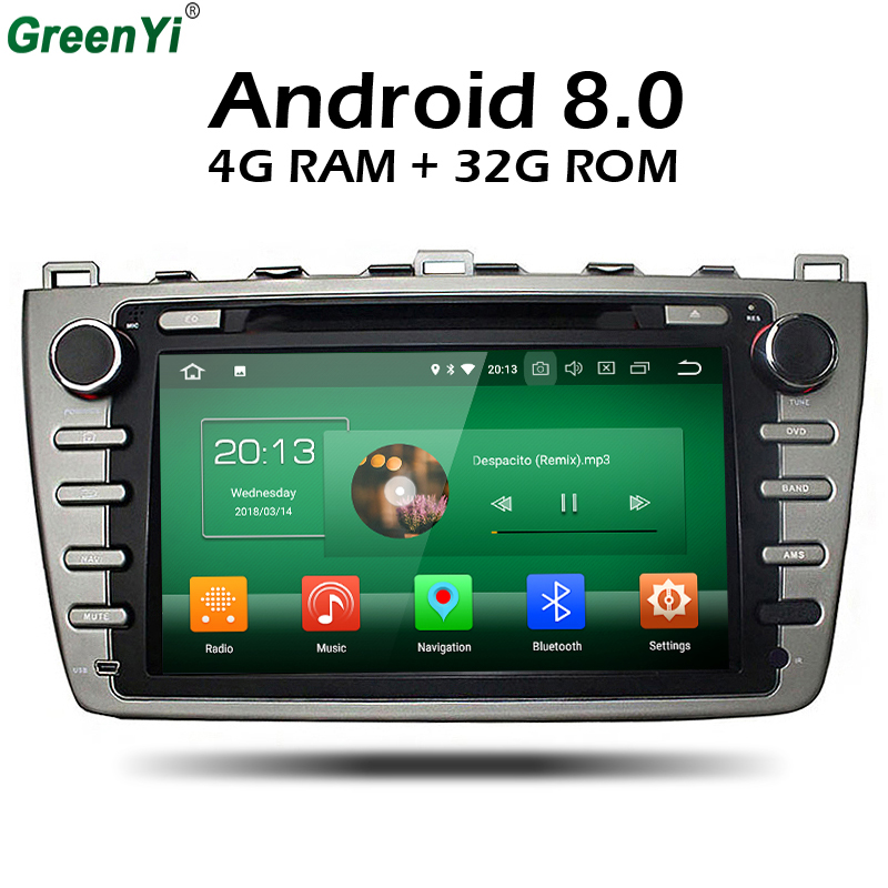 GreenYi Android 8.0 8 Core 4G RAM Car DVD GPS For Mazda 6 Ruiyi Ultra 2008 2009 2010 2011 2012 WIFI Autoradio Multimedia Stereo ownice c500 octa core android 6 0 car dvd gps for mazda 6 ruiyi ultra 2008 2009 2010 2011 2012 wifi 4g radio 2gb ram bt 32g rom