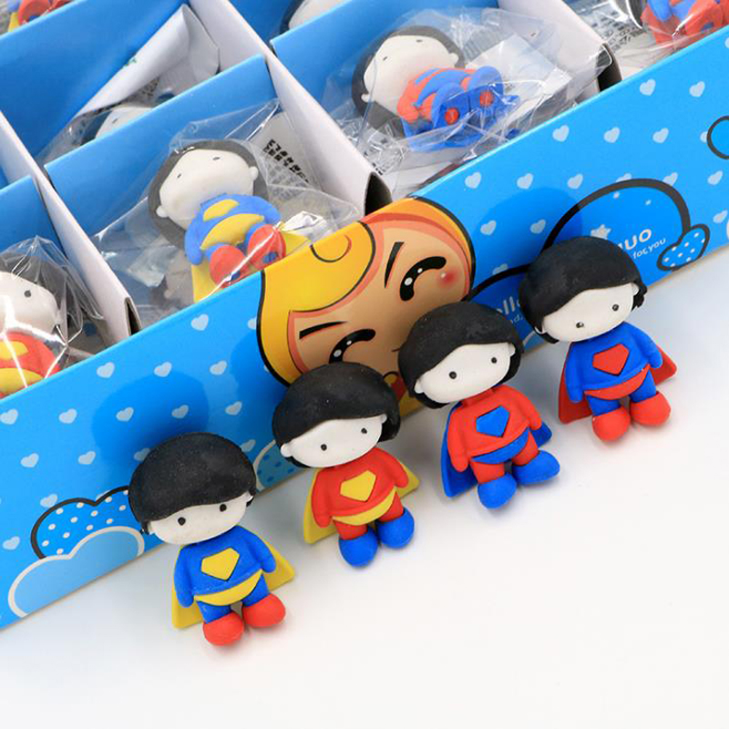 4 Pcs/set Cartoon Mini Super Hero Superman Eraser Correction Rubber Pencil Erasers School Office Stationery Students Gifts