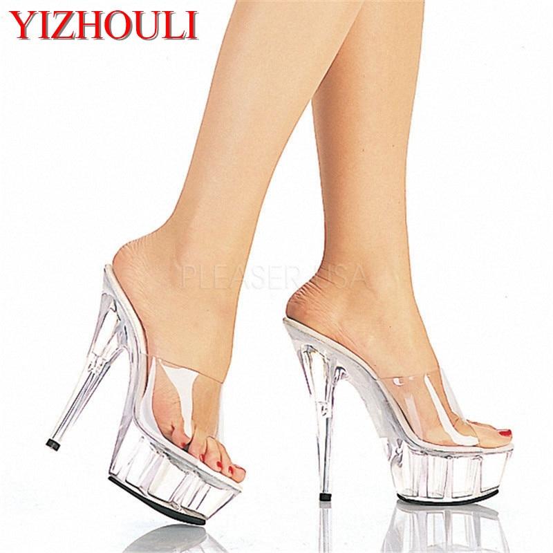 Moda zapatos de tacón alto 15 cm zapatos de la boda, 5 cm impermeables de la plataforma de cristal transparente Sandalias de las mujeres