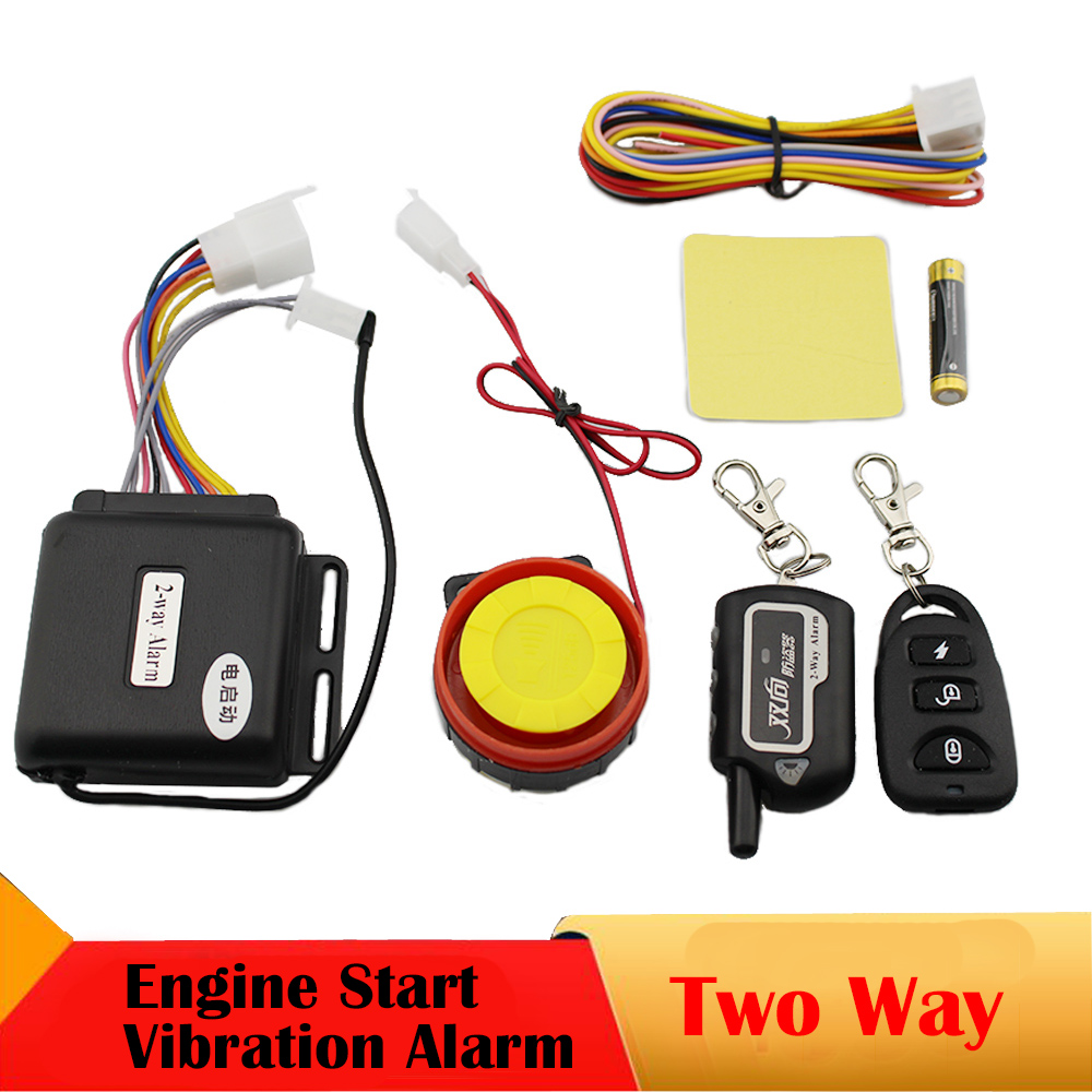 Two 2 Way Motorcycle Alarm System Remote Control Vibration Alarm Theft Protection Moto Scooter Motor Security