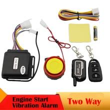 Dwa 2 Way Motocykl Ochrony Przed Kradzieżą System Alarmowy Pilot Alarm Wibracyjny Moto Skuter Alarmowy Start Silnika Silnika