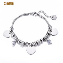 Color Stainless Steel Heart Bracelet for Women Geometric Crystal Sliding Bead Popcorn Chain Bracelet Fashion Jewelry Party Gift stylish heart geometric bracelet for women