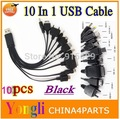 10pcs Free Shipping~1pcs Black 10 in 1 universal usb cables For iphone ipad Samsung HTC Blackberry Nokia...
