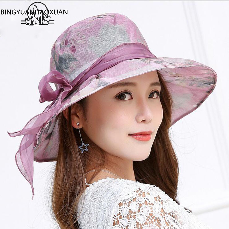 BINGYUANHAOXUAN Women's Summer Beach Bucket Panama Hat With Bowknot & Wide Birm