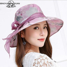 BINGYUANHAOXUAN Womens Summer Beach Bucket Panama Hat with Bowknot & Wide Birm