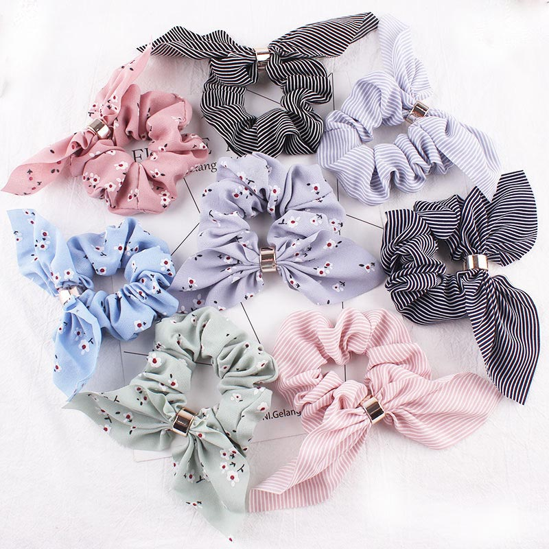 New Women Fashion Beauty Handbands Floral Big Women's Chiffon Bow   Headwear   Colorful Elastic Hair Bands For Girl