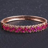 Robira 100 Natural Red Ruby Bracelets 18K Gold Diamond Gemstone Jewelry Bangle