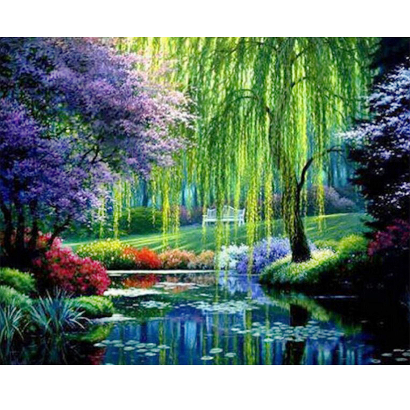 5D Weeping Willow And Pond Landscape Image DIY FULL