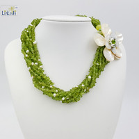 LiiJi Unique Natural Stone Peri dot &White Freshwater Pearl Shell Flower 8 strands Big Necklace Approx 49cm/20inches