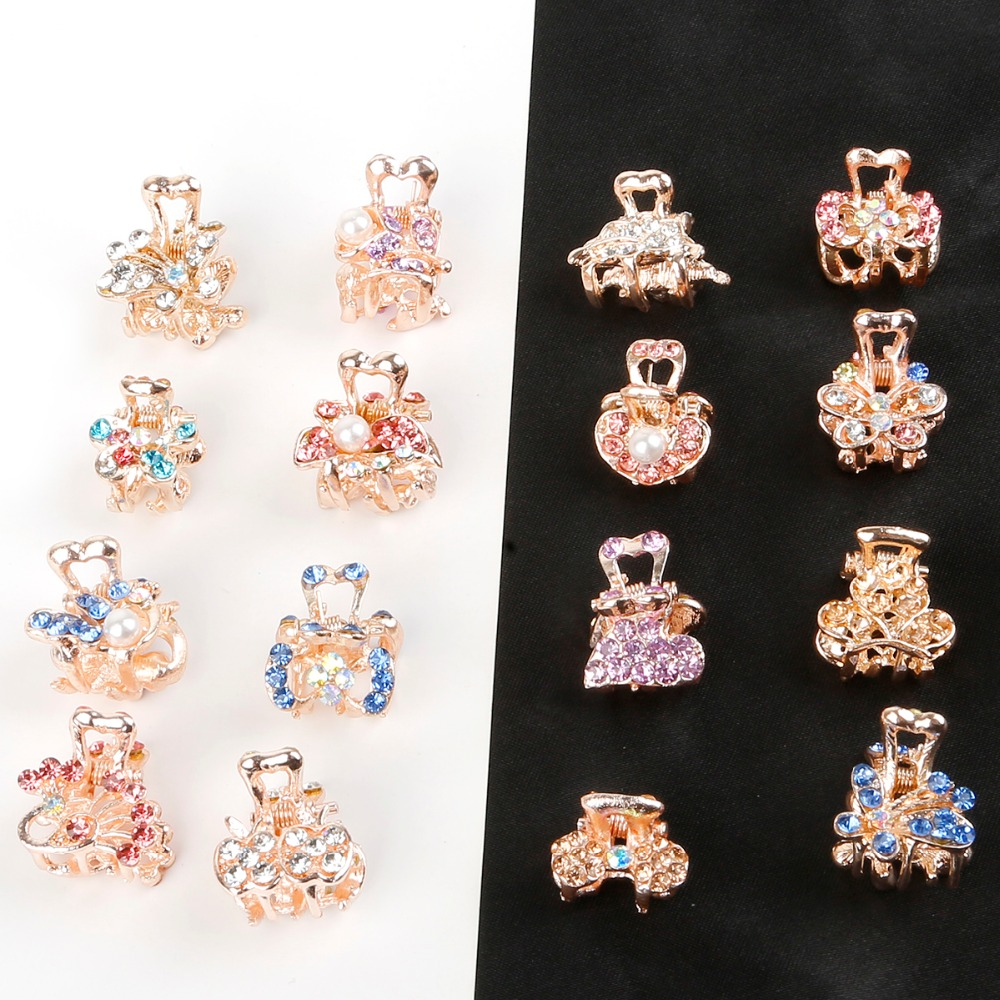 1pc Crystal Rhinestone Flower Hair Claw Hairpins Ornaments Butterfly Clips Hairgrip For Kids Girl Hair Styling Accessories