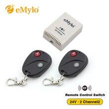 Emylo dc 24 v 스마트 무선 원격 제어 라이트 스위치 블랙 라운드 송신기 2 채널 릴레이 433 mhz 릴레이 원격 컨트롤러