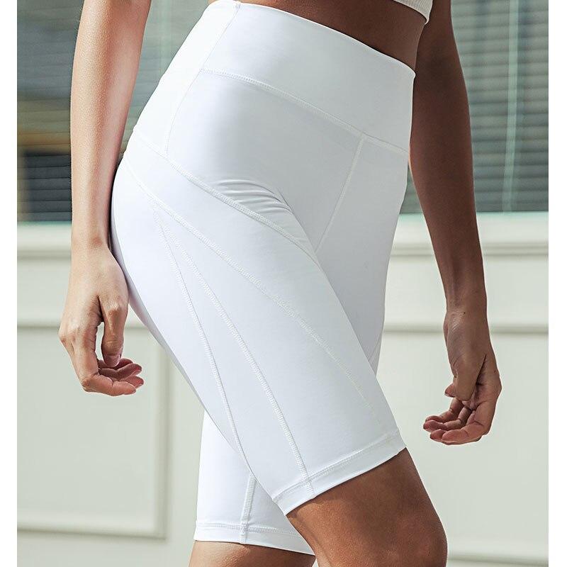 Short de Yoga pour femmes, longueur genou, pantalon de Gym, taille haute, pour Sport athlétique, Jogging, course à pied, cyclisme