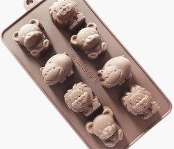 Moule à gâteau en Silicone chocolat froid bricolage fabrication de savon à la main moule 8 petit ours lion hippopotame animal