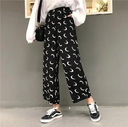 Gothic Harem Pants Trousers Women High Waist Loose Wide Leg Pants Moon print 3/4 Loose Pants Womens pants