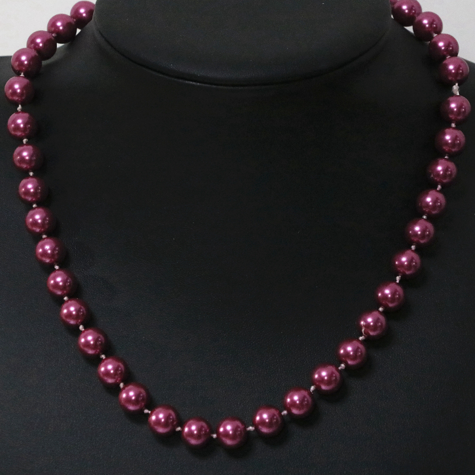 Free shipping Bohemia style red shell simulated-pearl fashion necklace 8,10,12,14mm women weddings jewelry 18inch B1646