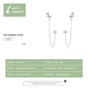 Image 2 - WOSTU 100% 925 Sterling Silver Fairy & Flower Long Line Earrings For Women Zircon Wedding Engagement Earrings Jewelry CTE201