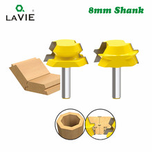 LAVIE 2pcs 8mm Shank Lock Miter Tenon Router Bits 22.5 Degree Glue Joinery Milling Cutter Set for Wood Woodwork Cutter MC02065(China)