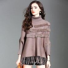 Europe 2017 Winter Women s Fashion Loose Solid Turtleneck Bat Sleeve Tassel Cloak Sweater Female Rabbit