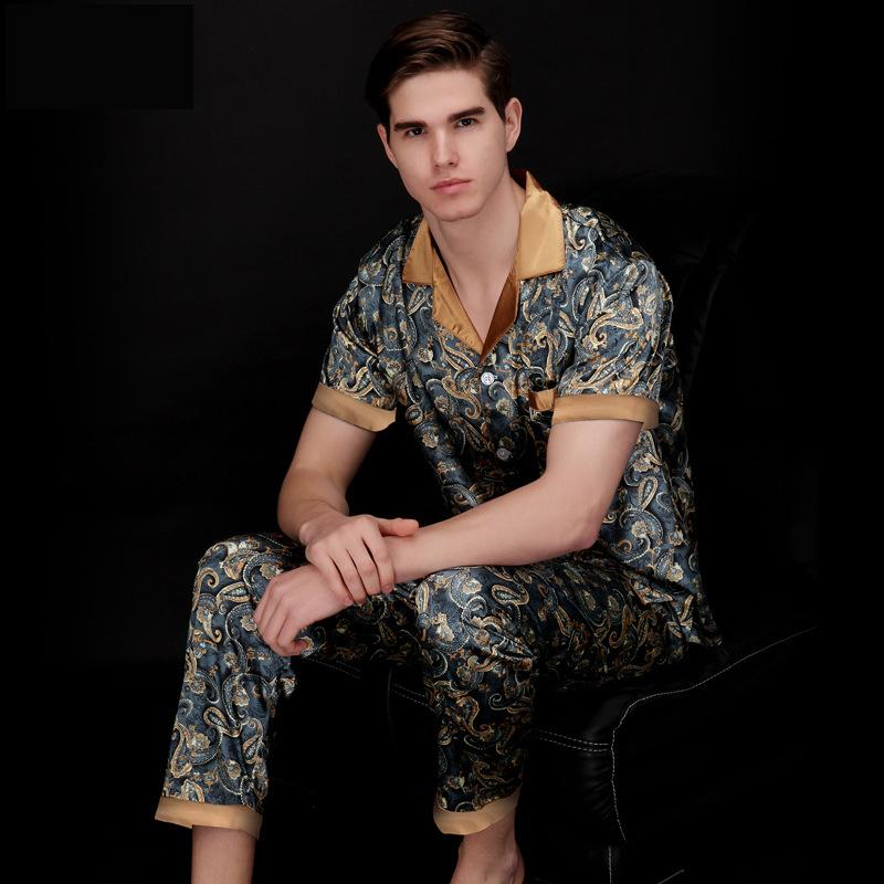 Mens Rayon Silk Pajamas Set Summer Short Sleeve Silk Satin Nightwear Sleepwear Man Plus Size XXXL Paisley Pyjamas Male