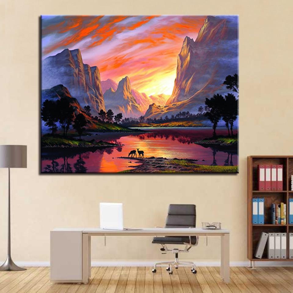 Diy Lukisan Dengan Nomor Perlengkapan Aliran Gunung Matahari