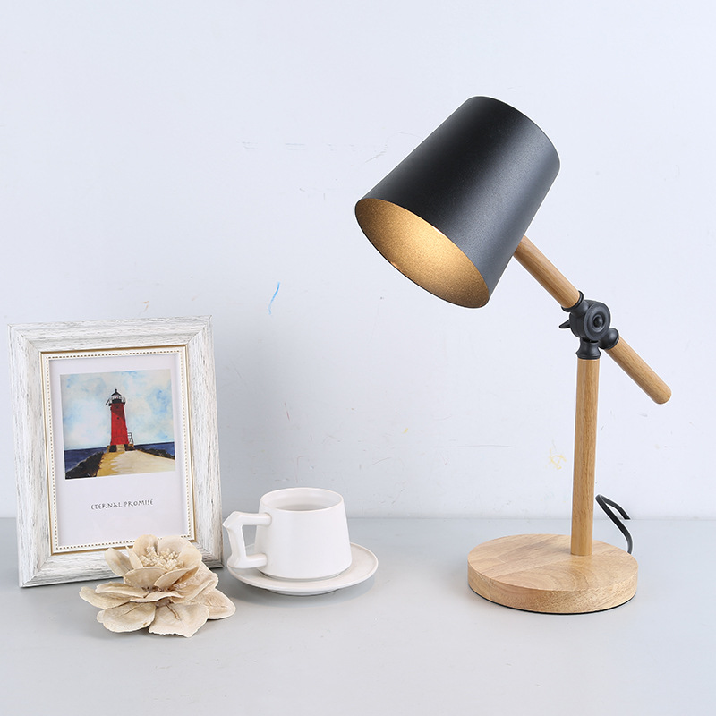 Wood Table Lamp For Bedroom Bedside wooden cottages home Decor luminaria table E27 Holder Black White Fabric Shade table lamp Wood Table Lamp For Bedroom Bedside wooden cottages home Decor luminaria table E27 Holder Black White Fabric Shade table lamp