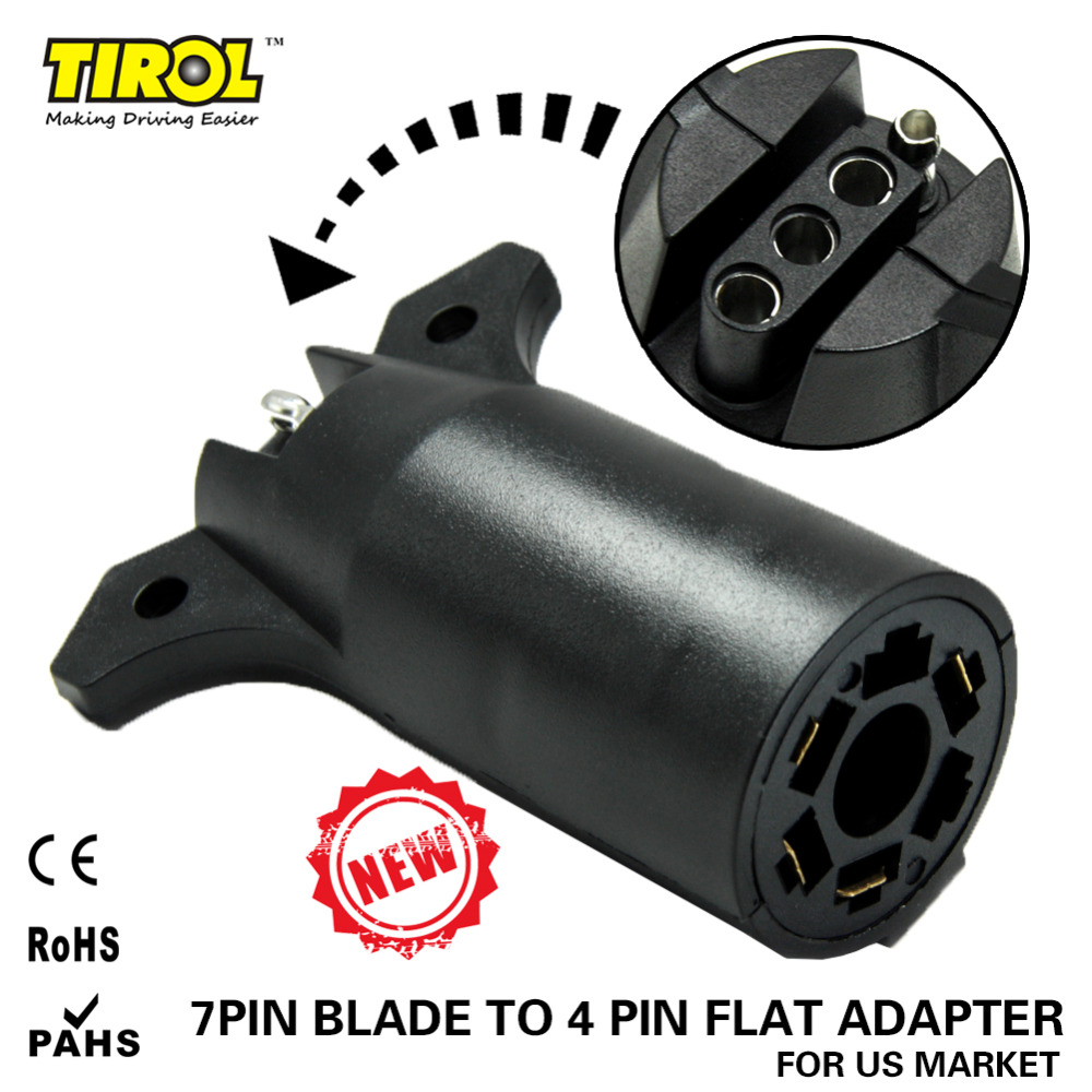 Tirol 7 Way Blade To 4 Way Pin Flat Trailer Wiring Adapter