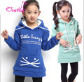 El niño Tong Weiyi invierno nueva ropa de los niños en coreano chicas de dibujos animados con letras grandes sudaderas con capucha de cachemira chaqueta