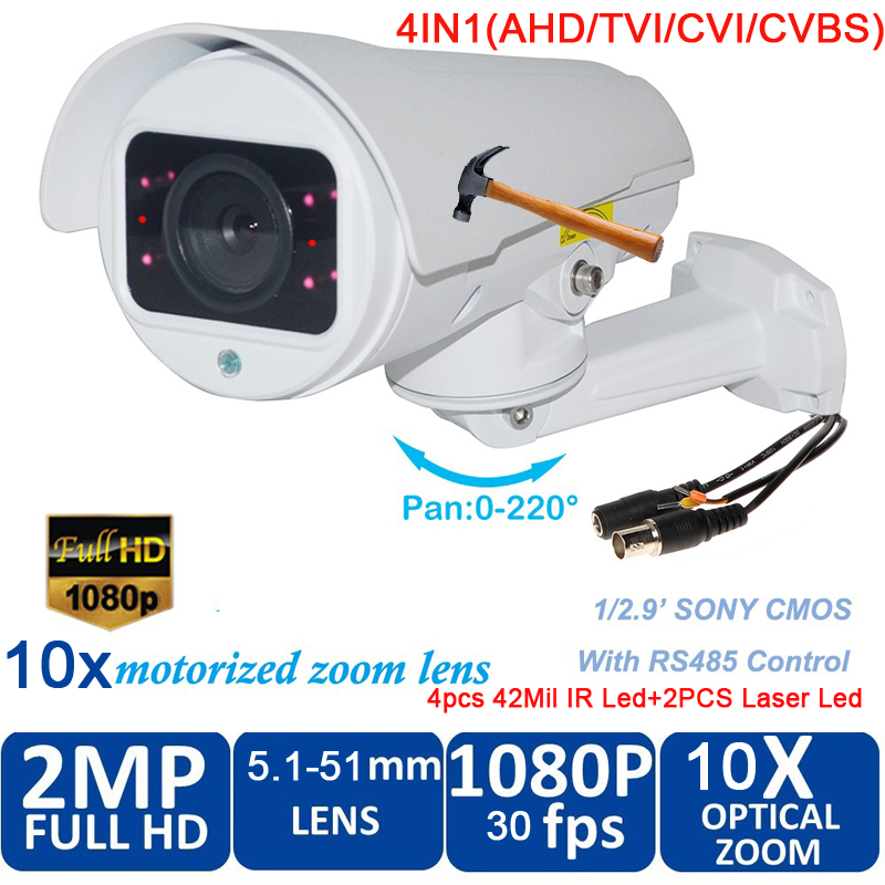 waterproof 1080P 2.0 Megapixel HD AHD CVI TVI Analog 4 in 1 Smart Mini Bullet PTZ Camera with 10x zoom  100m night visionwaterproof 1080P 2.0 Megapixel HD AHD CVI TVI Analog 4 in 1 Smart Mini Bullet PTZ Camera with 10x zoom  100m night vision