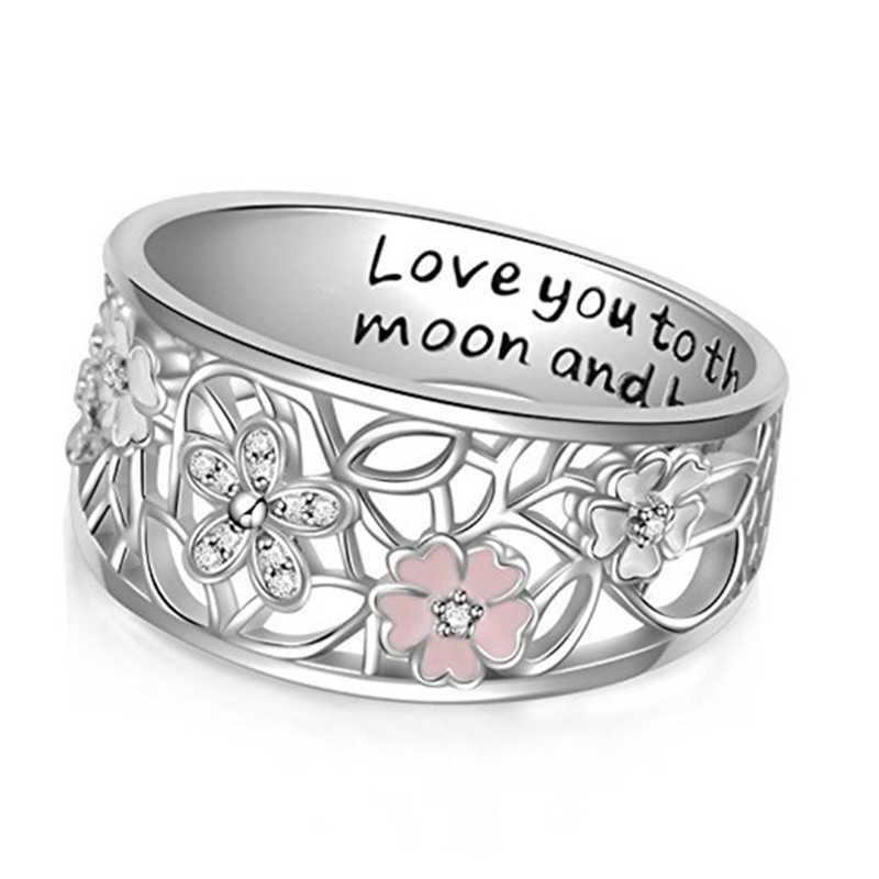 Creative Enamel Sakura แหวน Love You To The Moon Snd กลับเครื่องประดับ Hollow แหวนชุบเงิน