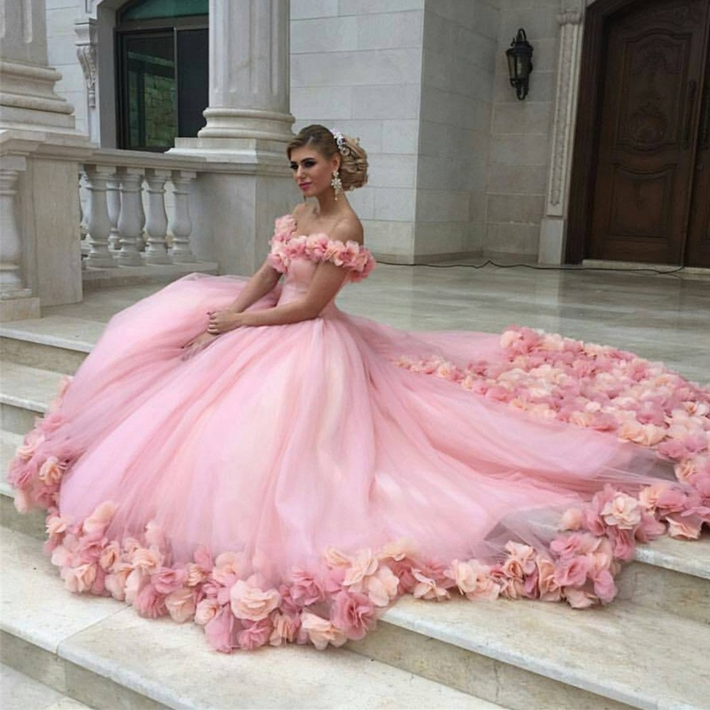 Fuchsia Gown: Romantic Blush Pink 3D Flower Tutu Formal Party Gowns Off