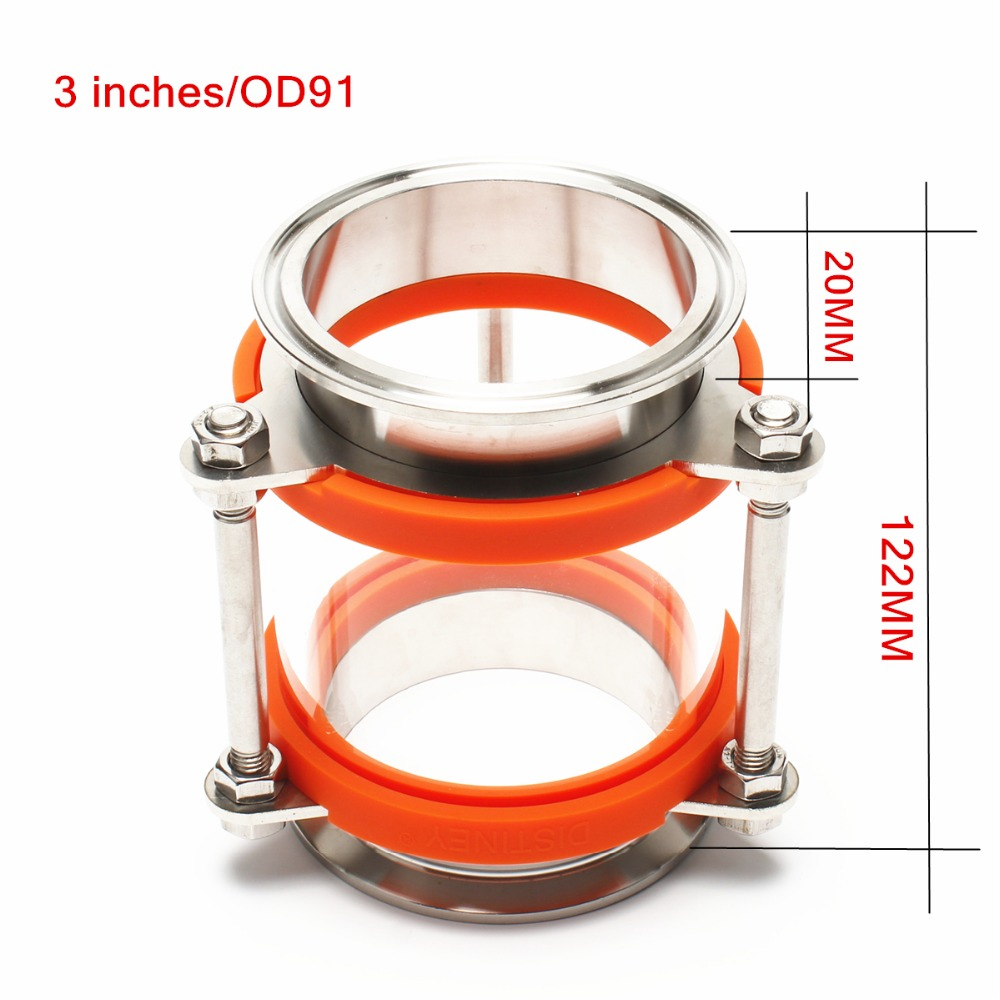 NEW 3(OD91) Dioptr Dephlegmator Moonshine reflux Stainless Steel Sight Glass Union triclamp Copper bubble plate