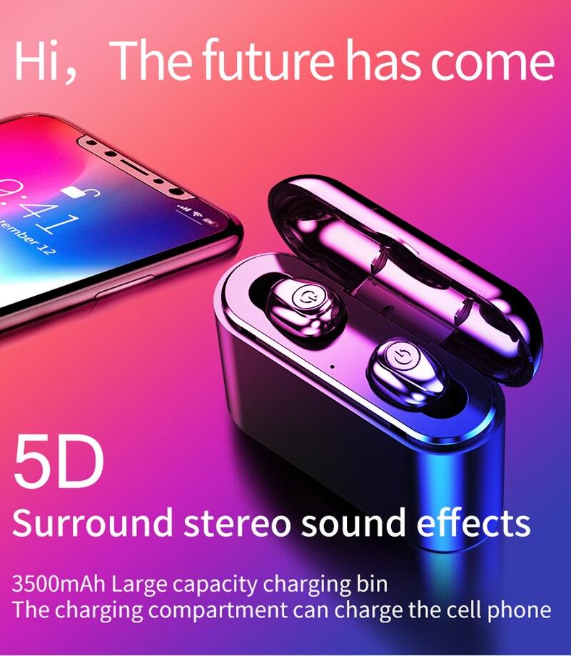 X8 TWS True Wireless écouteurs 5D stéréo Bluetooth écouteurs Mini TWS étanche casque avec boîte de charge 2200 mAh batterie externe