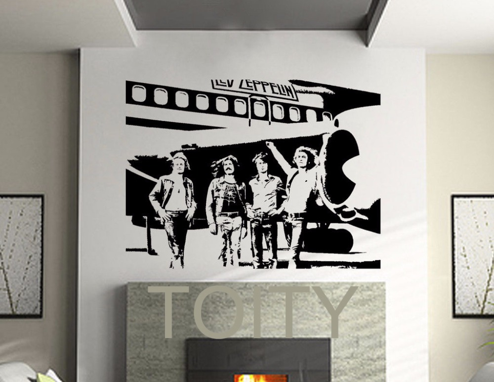 Led zeppelin wall stickers english rock band vinyl decals for Decor mural metal