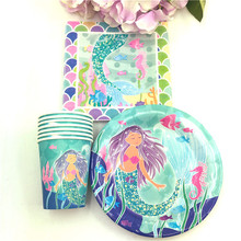 60pcs Little Mermaid Theme 20pcs paper cups+20pcs napkins+20pcs plates for Kids Birthday Party Decoration 20 person