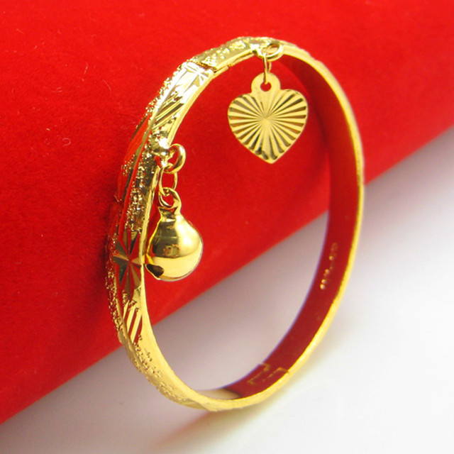 Gold Plated Newborn Baby Bracelet Bangle for Infant with Charms Heart Leaf Bell Dia 4.5cm