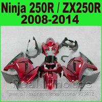 Body kit Kawasaki Ninja 250r Fairings black red EX250 year 2008 2009 2010 2011 2012 2013 2014 ZX 250 fairing kits parts R4O9