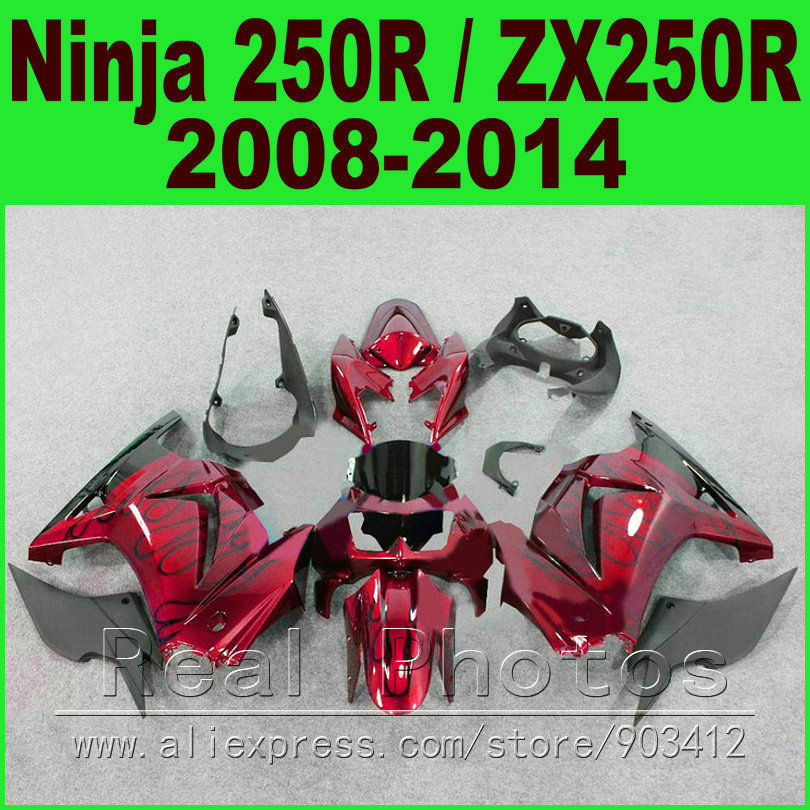 Body kit Kawasaki Ninja 250r Fairings black red EX250 year 2008 2009 2010 2011 2012 2013 2014 ZX 250 fairing kits parts R4O9 red for yamaha yzf r25 r3 13 16 14 15 motorcycle rear fender dust mudguard with chain guard fairing tire wheel hugger protector